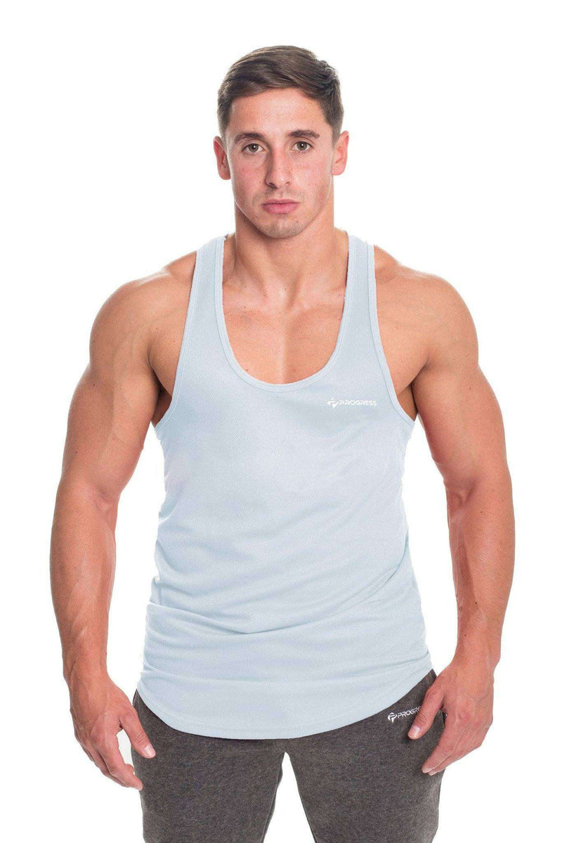 Stringer Vests - Progress Performance Stringer - Small Logo (Cool Grey)
