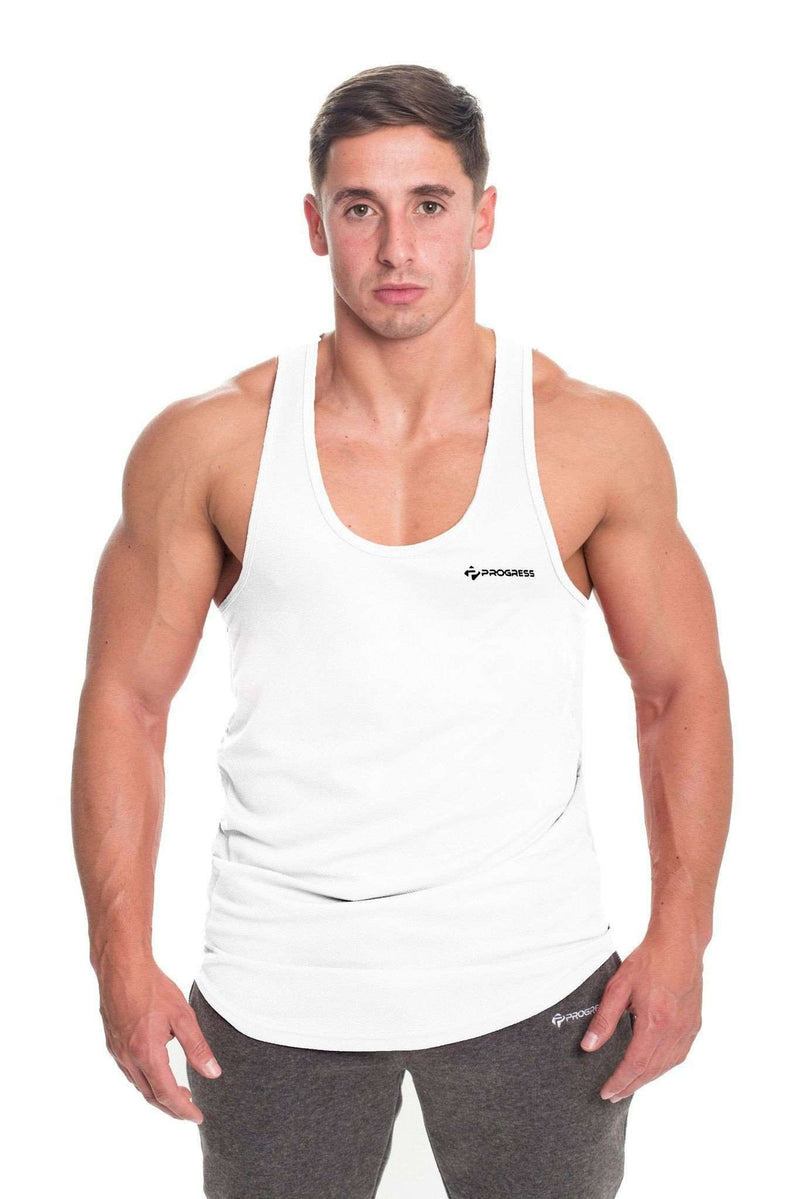 Stringer Vests - Progress Performance Stringer - Small Logo (White)