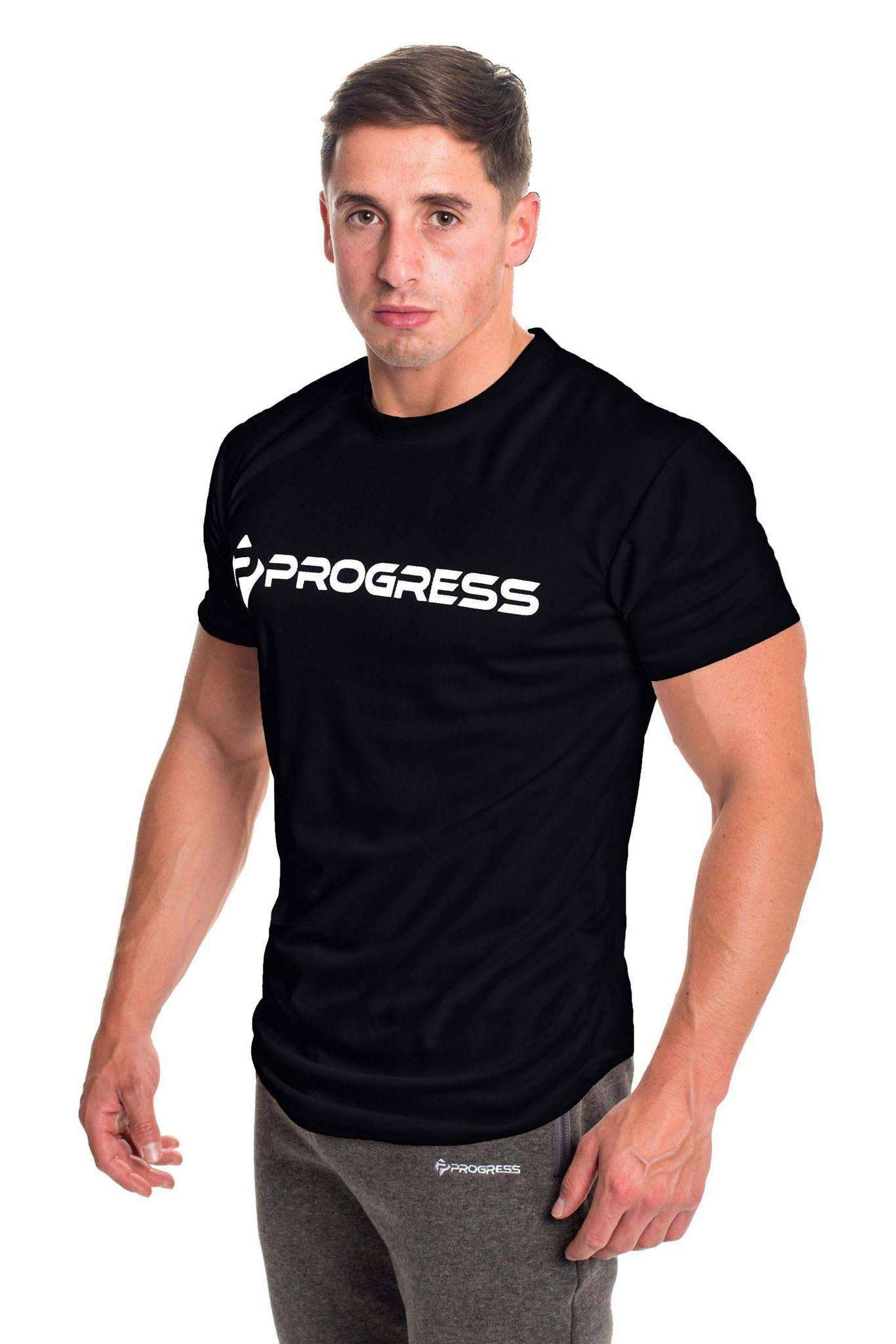 Black t shirt large - T Shirts Progress Performance T Shirt Large Logo Black