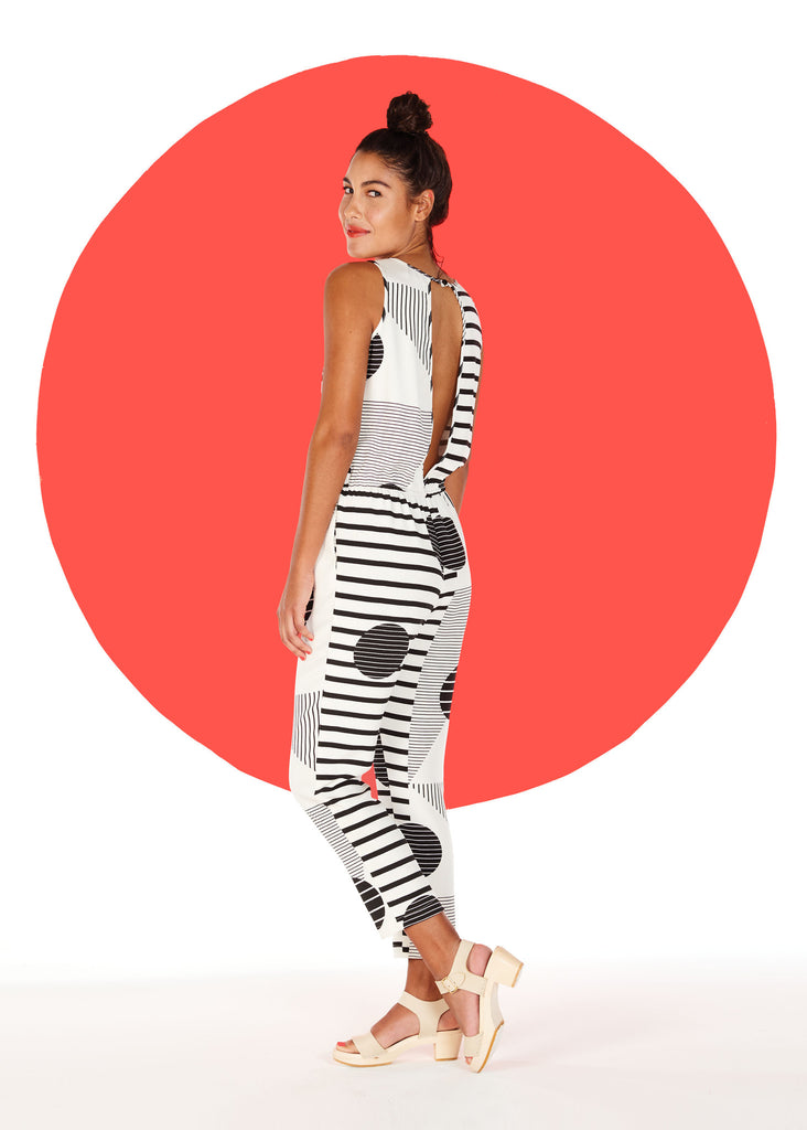 Printed Stretchy Silk Jumpsuit