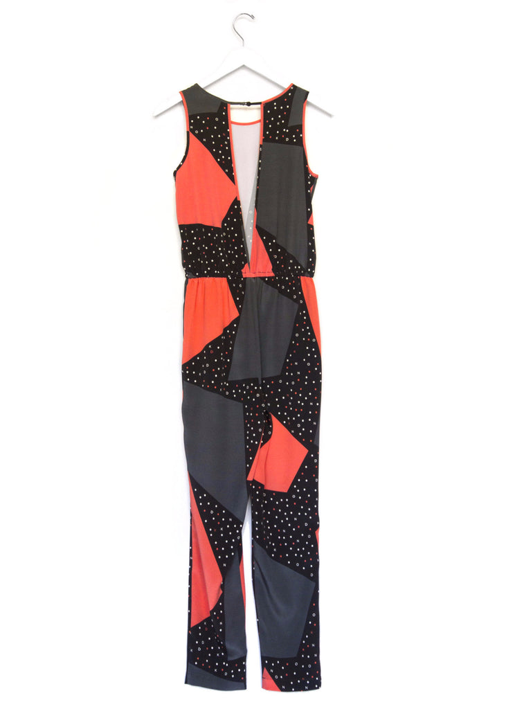 Geometric Print Silk Jumpsuit