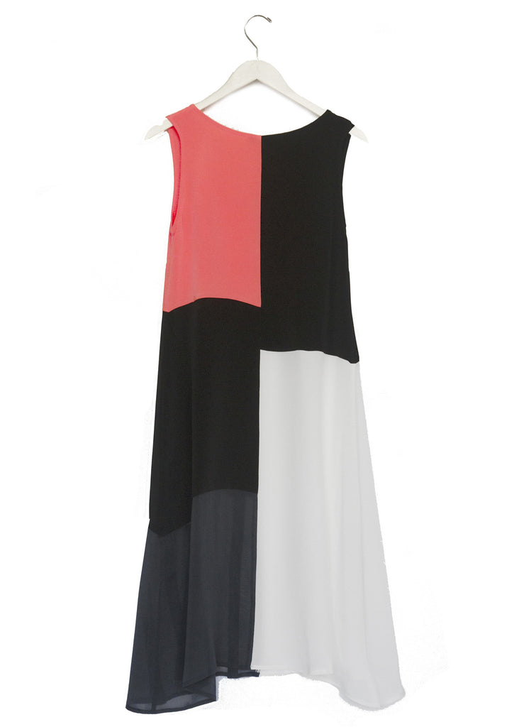 Color Blocked Silk Dress