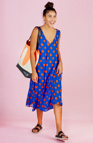Polka Dot Print Silk Dress