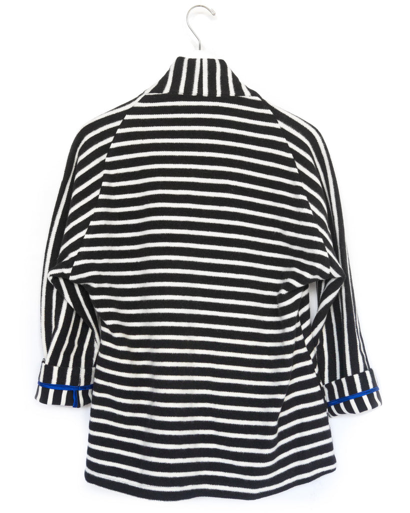 Cotton Striped Kimono Jacket- in BLACK
