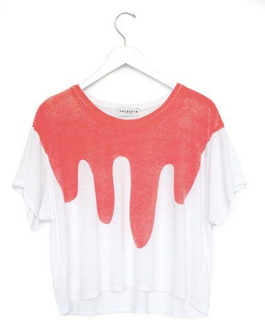 Drip Tee in Neon coral