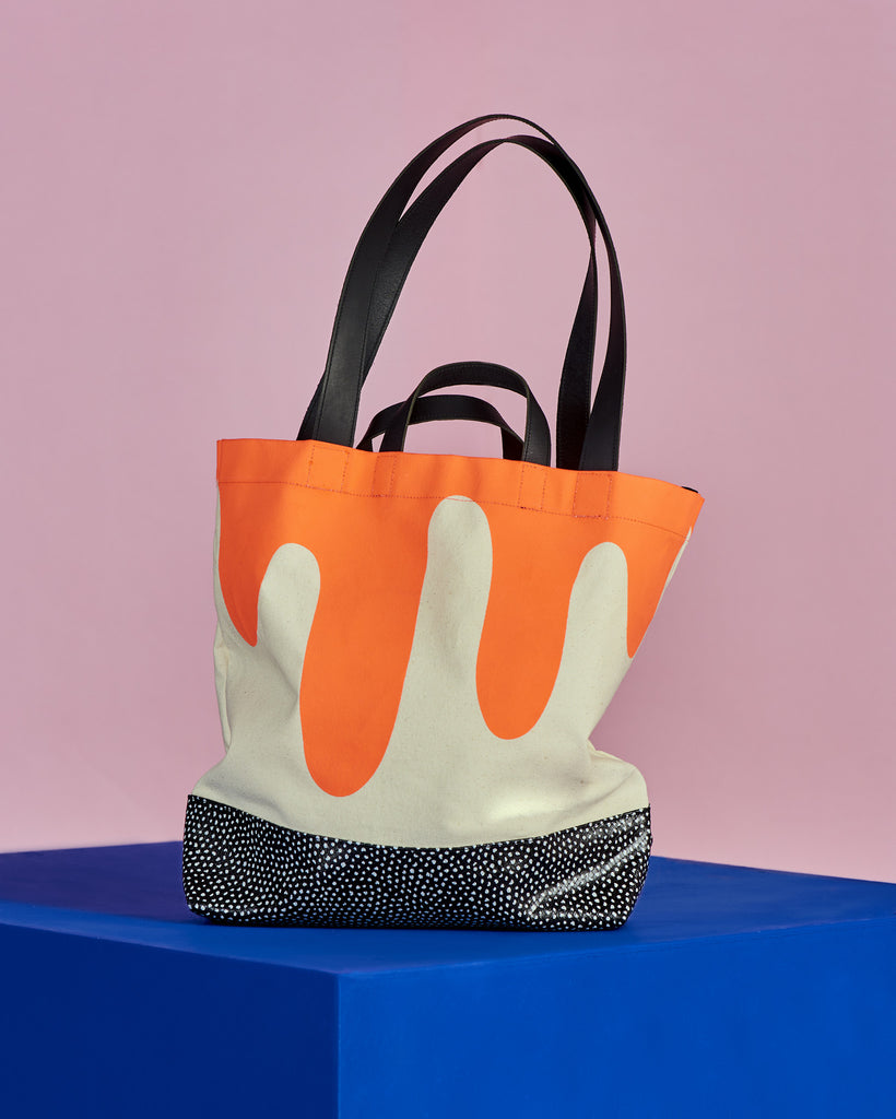 Drip Tote with dotted leather