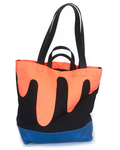 Drip Tote with Blue Leather