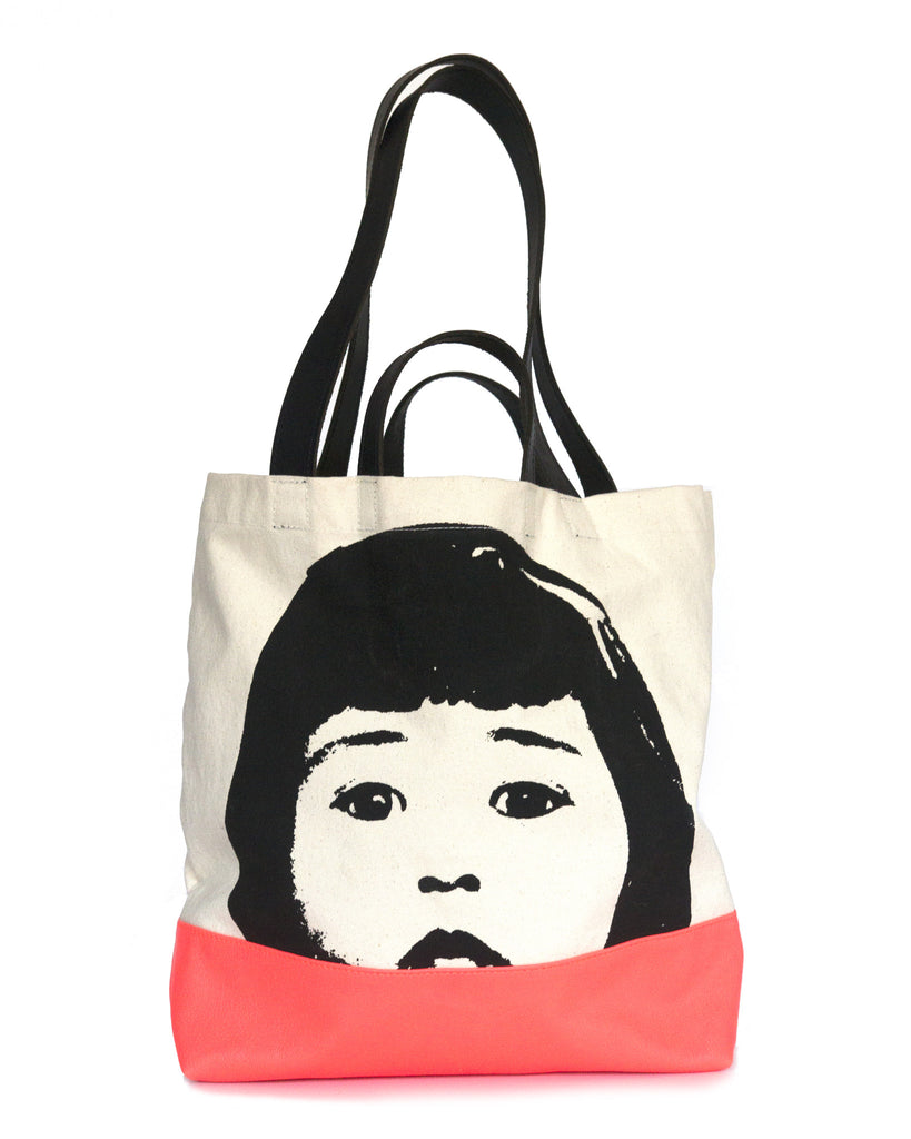 Screen Printed Cotton Canvas and Cow Leather Tote Bag