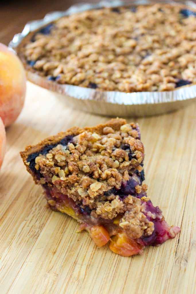 Vegan Blueberry Peach Prumble