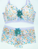 New York Elegance Rhinestone Underwire Bra and Panty Set - Blue