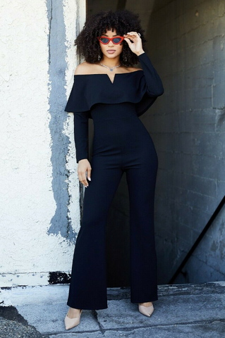 Off Shoulder Long Sleeve Wide Pants Jumpsuit