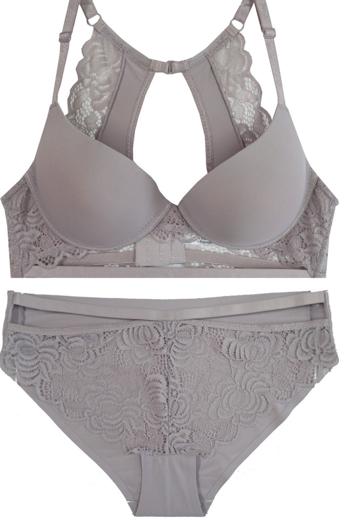 Lace Behavior Racerback Push-Up Bra and Panty Set