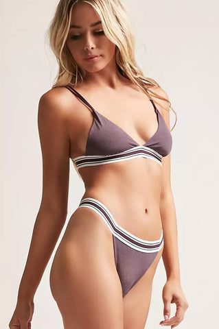 Striped Trim Lingerie Bra and Panty Set