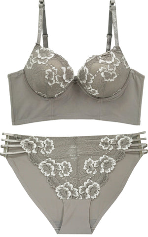 Dancing Under The Light Floral Lace Push-up Bra and Panty Set - Taupe