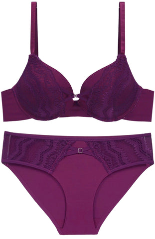 Fine As Wine Lace Push-Up Bra and Panty Set - Purple
