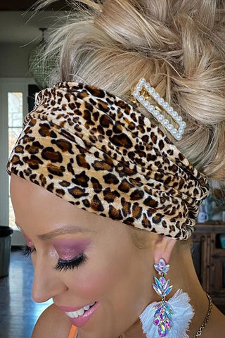 Can't Be Tamed Boho Velvet Leopard Headband