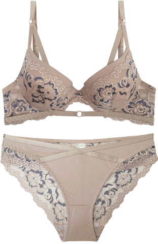 Sweet Like Cinnamon Floral Lace Bra and Panty Set