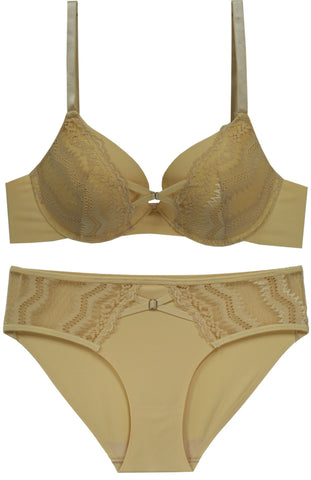 Fine As Wine Lace Push-Up Bra and Panty Set - Yellow