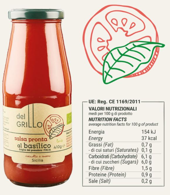 del Grillo Organic Sauce with basil - 14.5 oz
