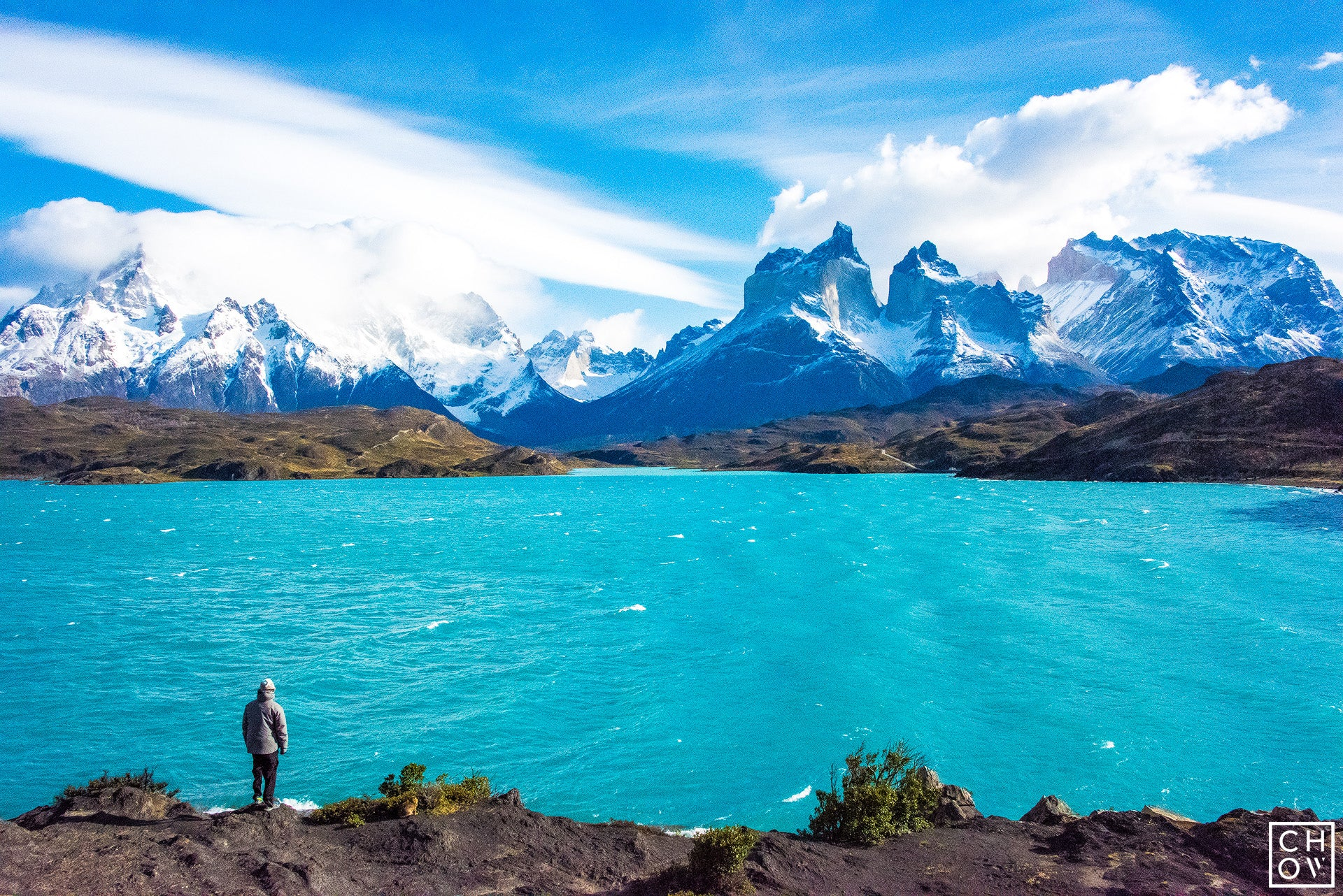 Standing on the edge of Lake Pehoe, Torres del Paine