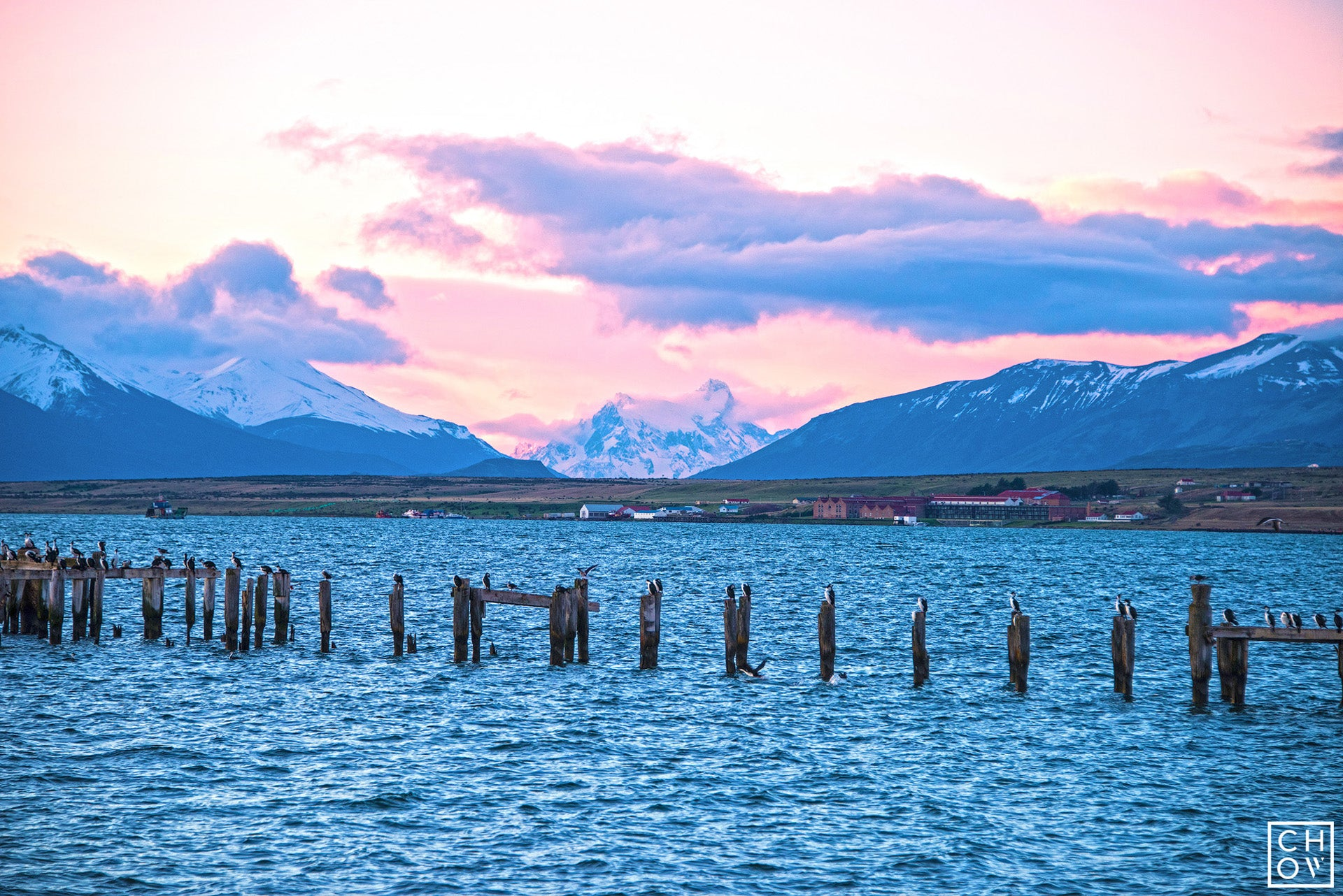 Sunset over Puerto Natales, Chile