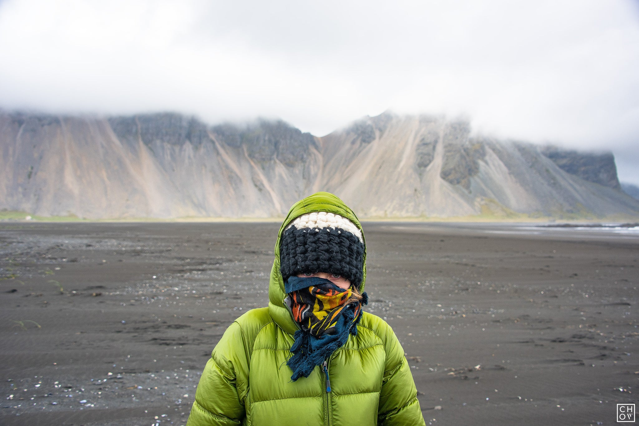 Bundled up in the headwinds of Vestrahorn Iceland