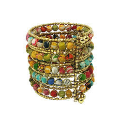 Kantha Beaded Grid Cuff