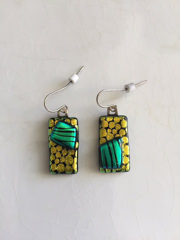 Asymetrical Dichroic Glass Earrings