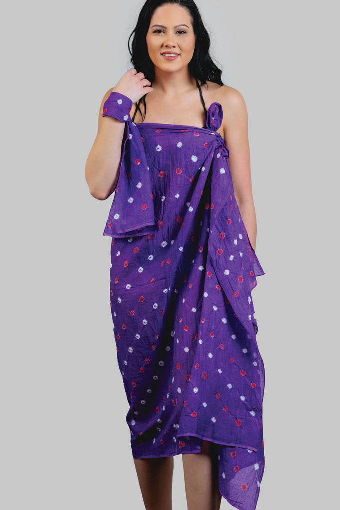 Sarong & Head Scarf Set - Purple