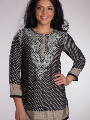 Tunic - Black and Silver Silk - Hand embroidered