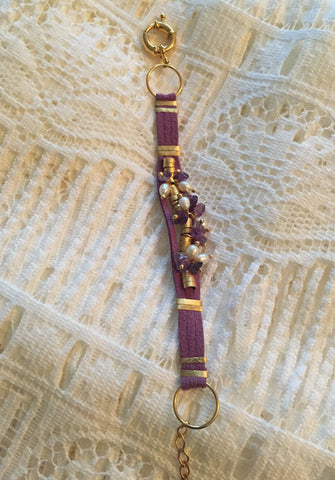 Brazilian Leather Bracelet with Fresh Water Pearls & Amethyst - Purple