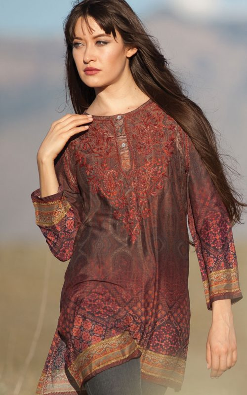 Burgundy & Chocolate embroidered silk tunic