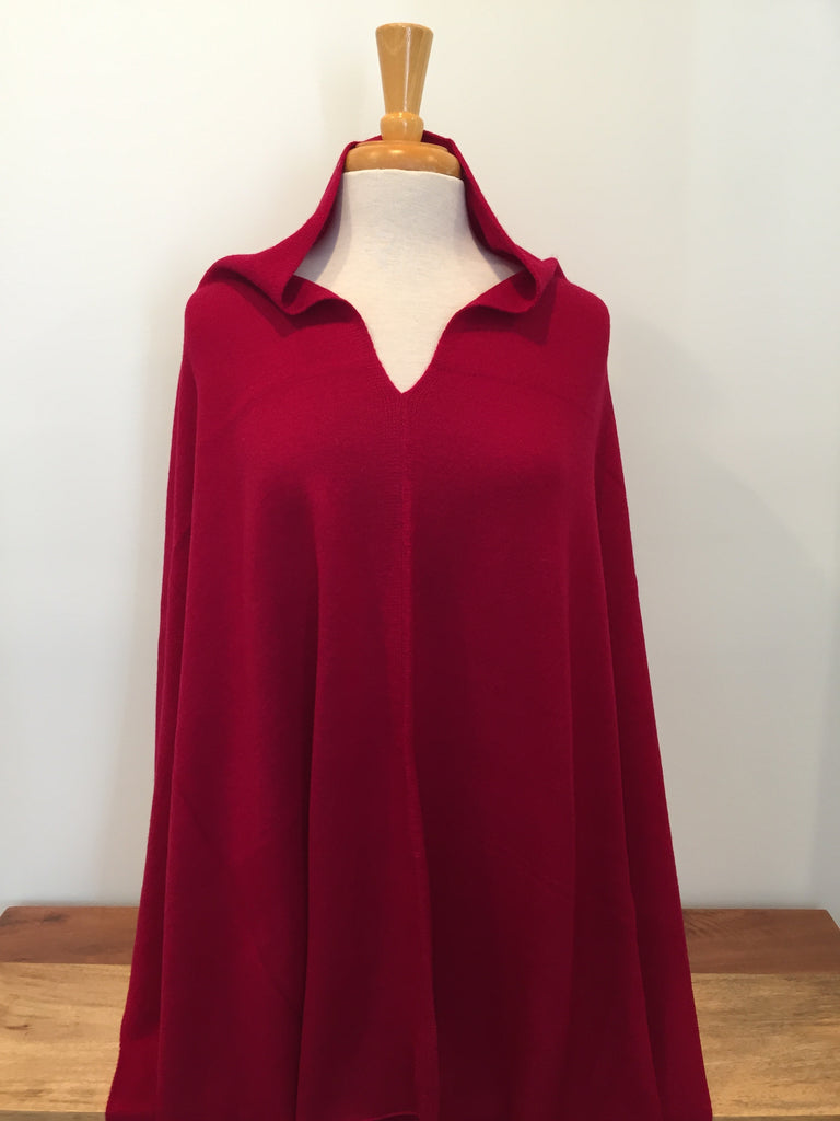 Cashmere Poncho - Cherry Red