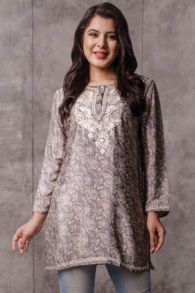 Tunic - Silk Silver - Hand Embroidered