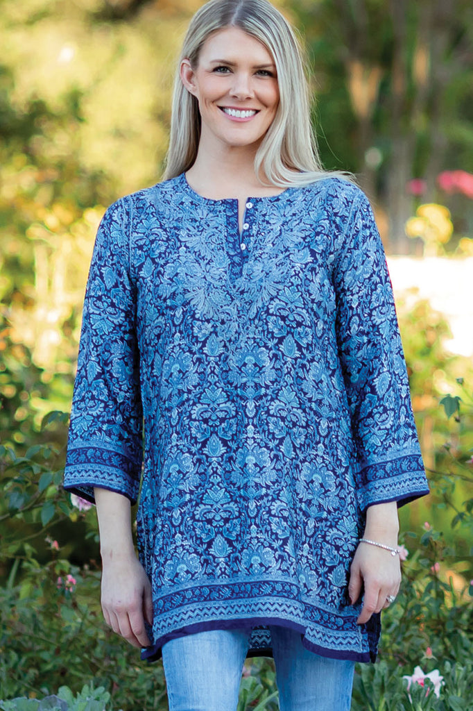 Tunic Cobalt Blue Silk - Hand Embroidered