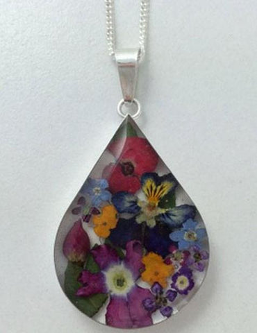 Flower Teardrop Necklace