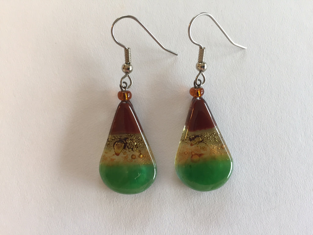 Fused glass teardrop earrings