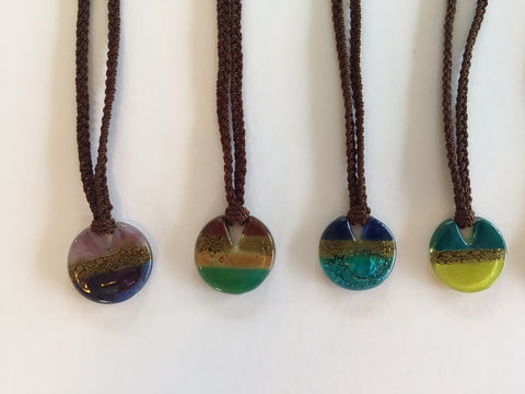 "Fused glass ""pie"" necklace"