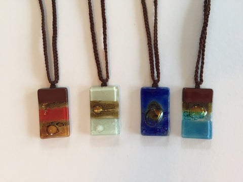 Fused Glass Rectangle Necklace