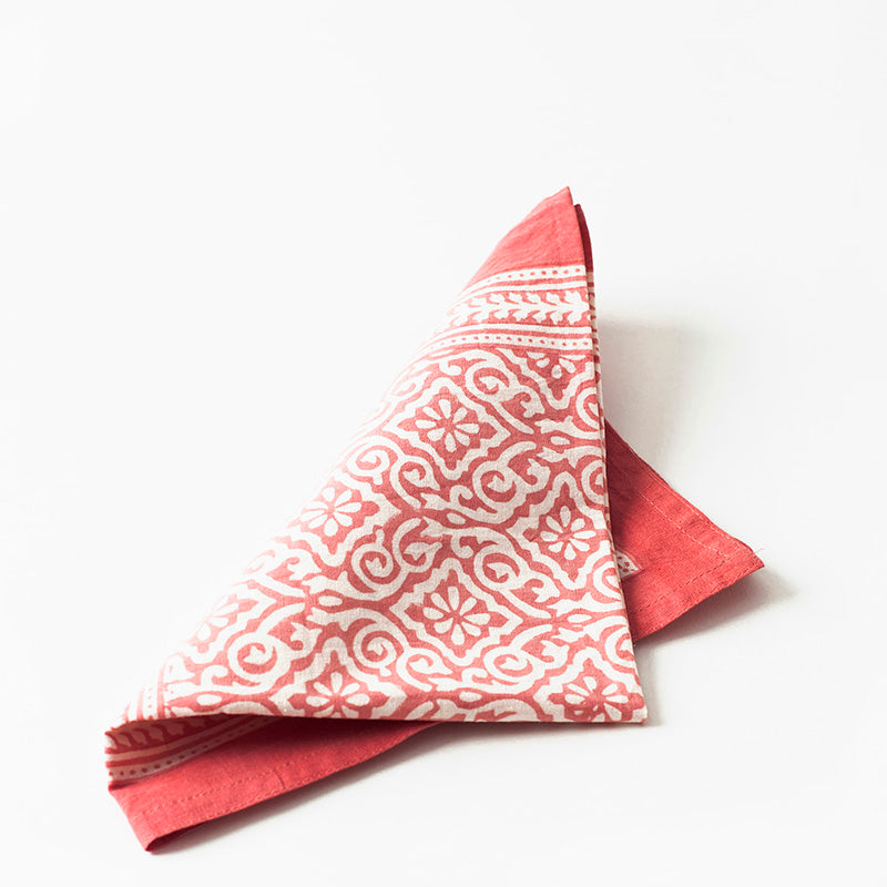 Napkins Jaipur Coral - Set of 4
