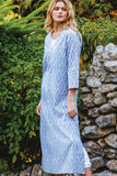 Kaftan Block Printed Cotton Silver/Ivory