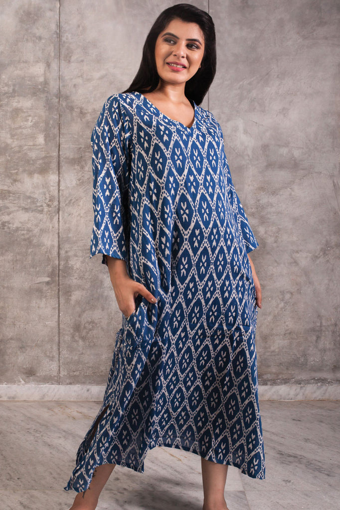 Kaftan Block Printed Cotton Indigo