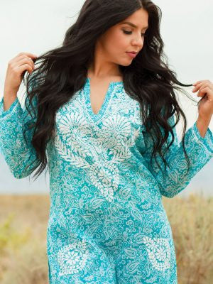 Turquoise Long Sleeve Tunic
