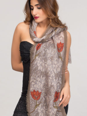 Scarf - Paramita Red & Silver Wool