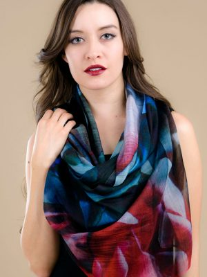 Pavani Printed Blue & Rose Silk Scarf