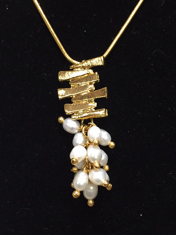 Brazilian Pendant Necklace with Fresh Water Pearls & Gold Bars
