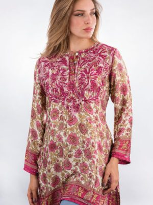 Tunic - Rose Silk - Hand E mbroidered