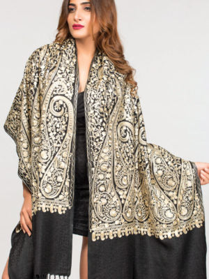 Wrap - Tanya Embroidered - Black & Gold