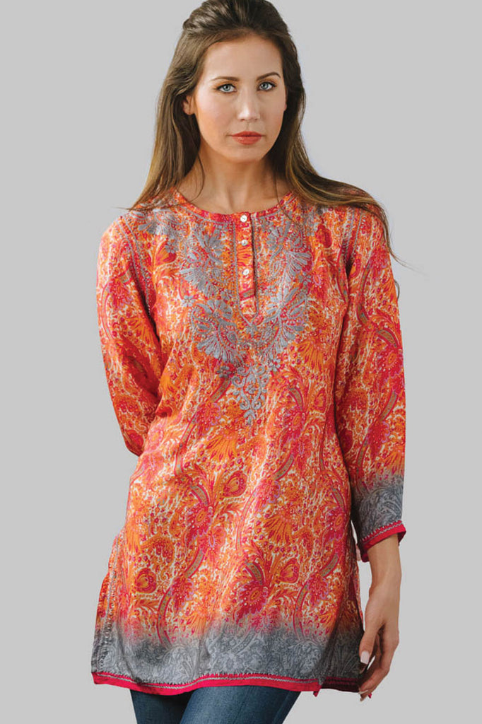 Tunic Orange and Silver Silk - Hand Embroidered
