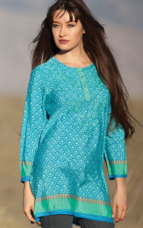 Turquoise embroidered silk tunic